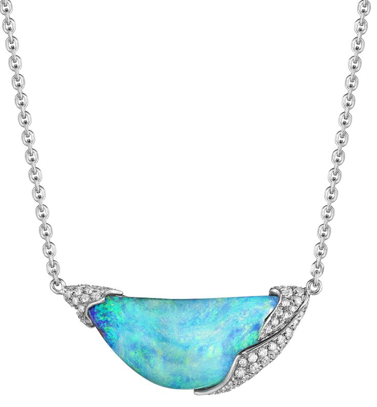 Mimi So's ZoZo Boulder Opal and Diamond Necklace 18kt white gold. It centers...