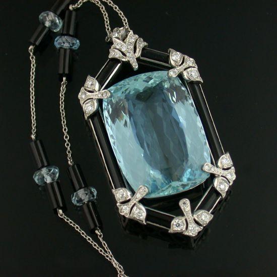 Platinum and Aquamarine Necklace Consisting of a 38.00 Carat Fancy Cut Aquamarin...