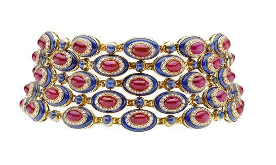 Ruby, sapphire, diamond and blue enamel collar.
