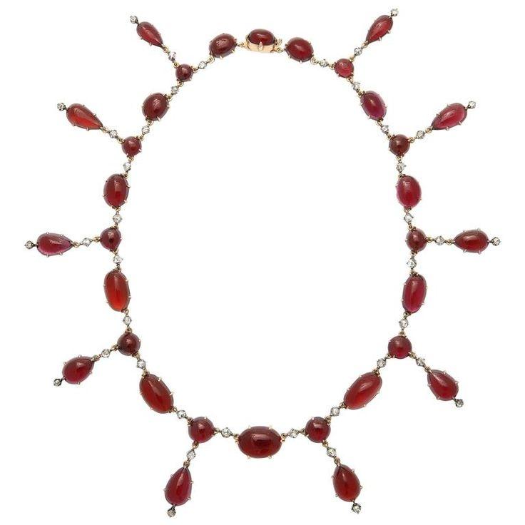 Stunning Victorian Garnet Diamond Gold Necklace For Sale