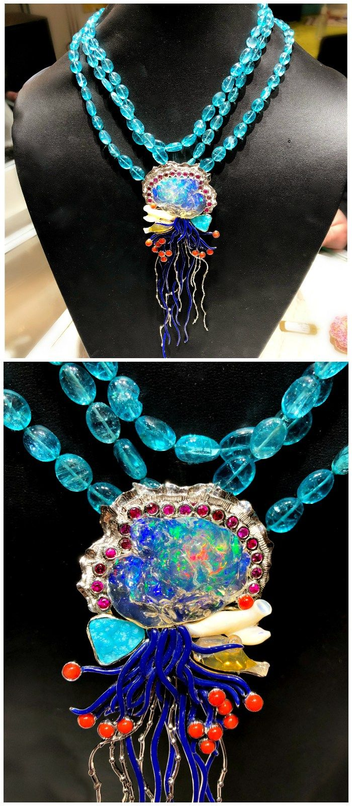 This Paula Crevoshay necklace depicts a beautiful Portuguese Man o' War jell...