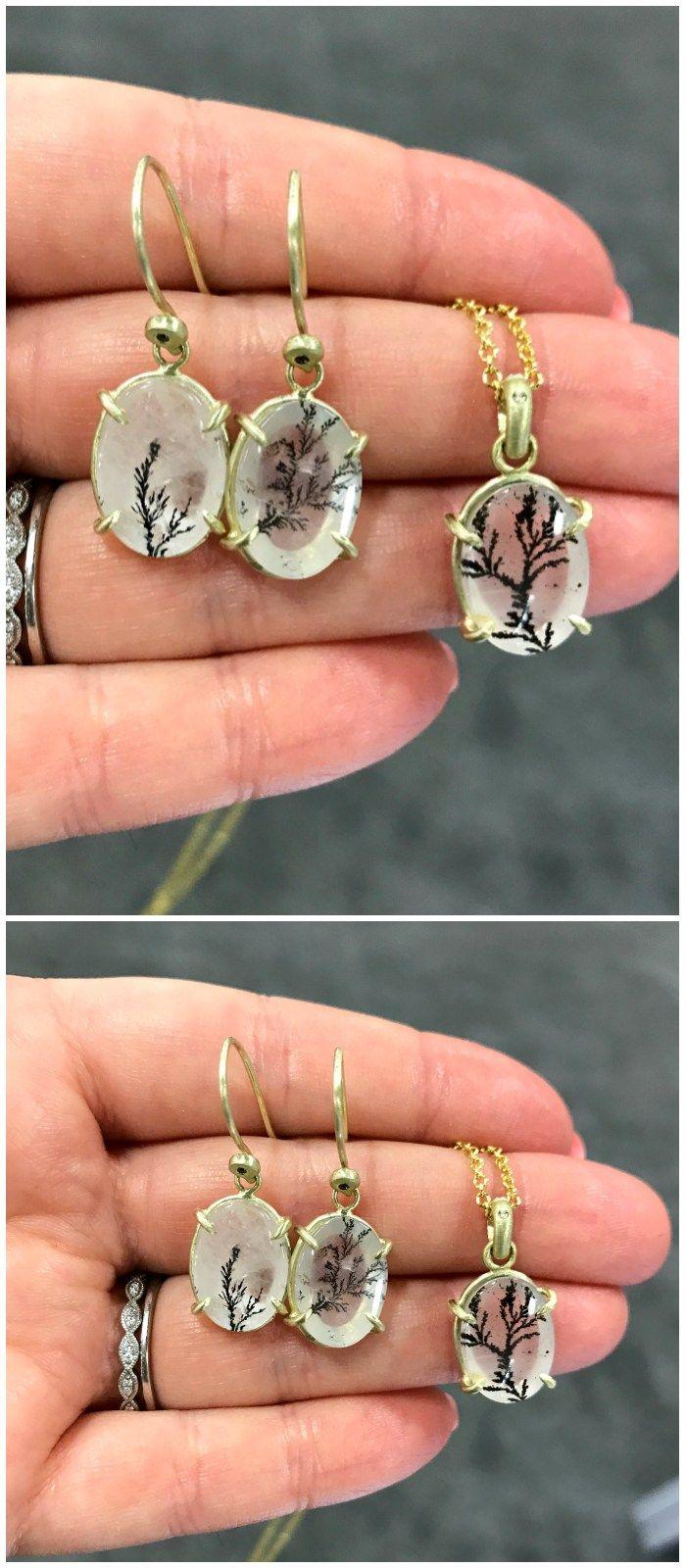 Three beautiful pieces of dendritic quartz jewelry from Judi Powers.