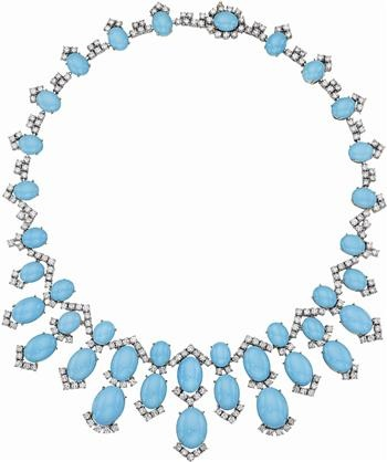 Turquoise and Diamond Necklac