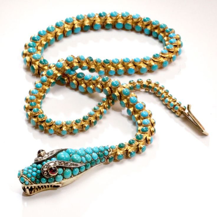 Victorian turquoise snake necklace. France late 19th century  Victorian 19th cen...