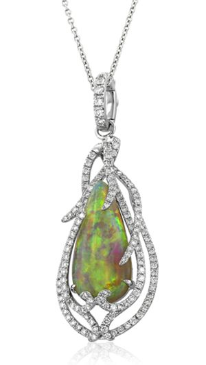 Yael Designs Lyra Collection Opal and Diamond Pendant