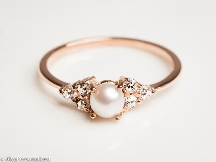 14k Rose Gold Engagement Ring - Pearl Engagement Ring - Diamond Engagement Ring ...