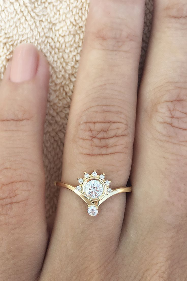 Crown Unique Simple Dainty Engagement Ring