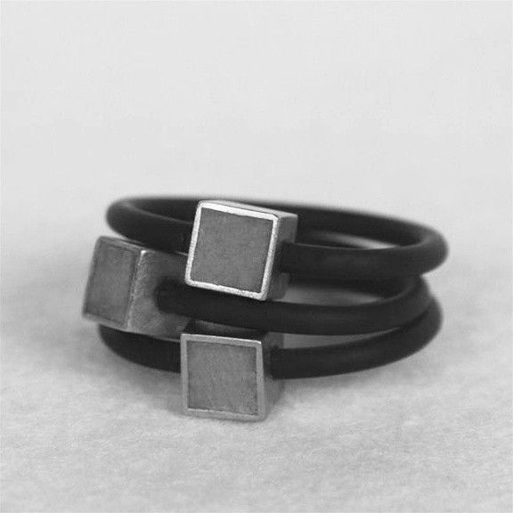 Hadas Shaham Cube Concrete Rings - Rubber, Concrete, Sterling Silver and Gold Pl...