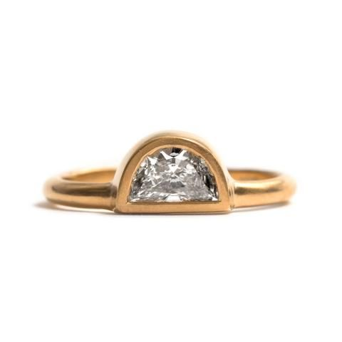 Half Moon Diamond and Yellow Gold Ring by David Neale