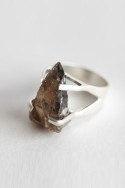 Handmade ring of rough cut smoky quartz held with sterling claws claw setting #r...