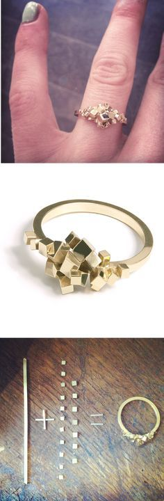 Pixel ring by Sophie Teppema - simple, gold /silver would be nice - Get the most...