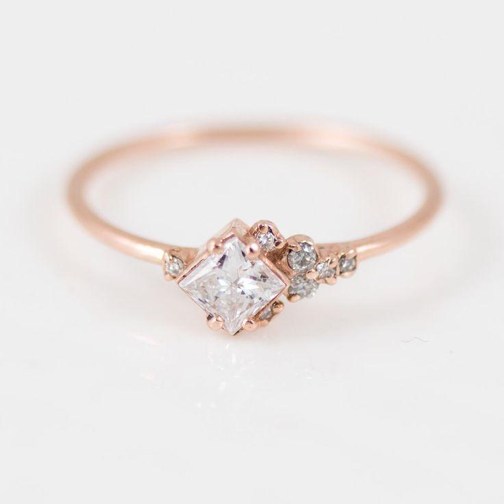 Princess Cut White Diamond Ring // Asymmetrical Diamond Mini Cluster Ring in 14k...