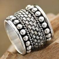 Sterling silver band ring, 'Moonlight Rivers' - Balinese Wide Sterling S...