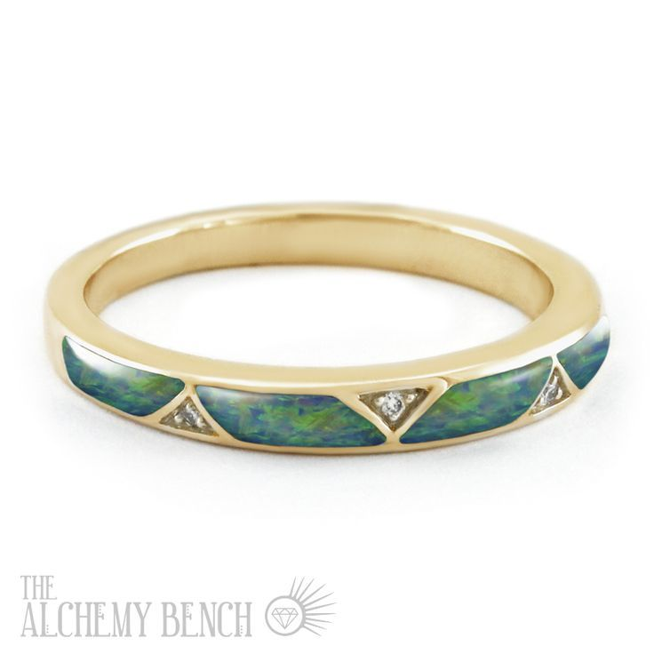 Unique Opal and Gold Wedding Band - Blue-Green Opal
