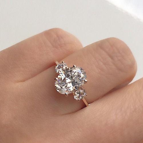 Vale Jewelry custom 3 carat oval diamond engagement ring set in 18K rose gold