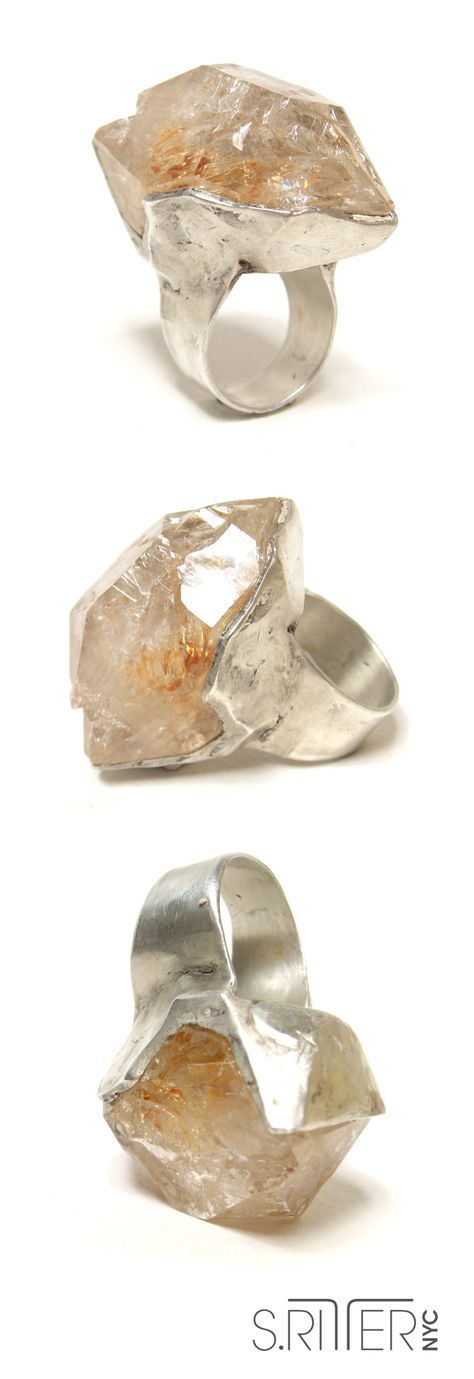 ice for your hand. raw fenster quartz set in sterling silver. raw natural stone ...