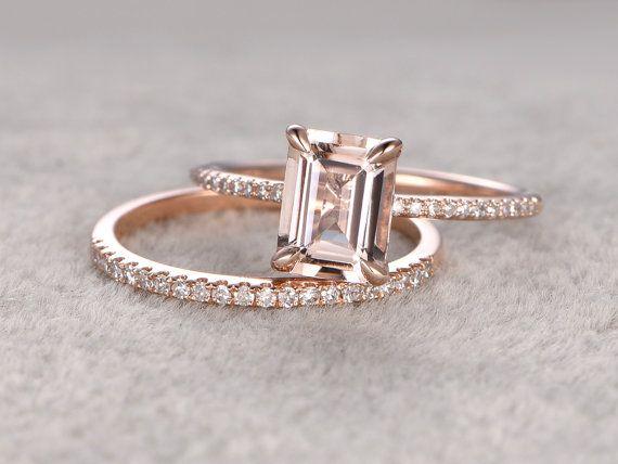 2pc 6x8mm Morganite Engagement ring set Rose gold,Diamond wedding band,14k,Emera...