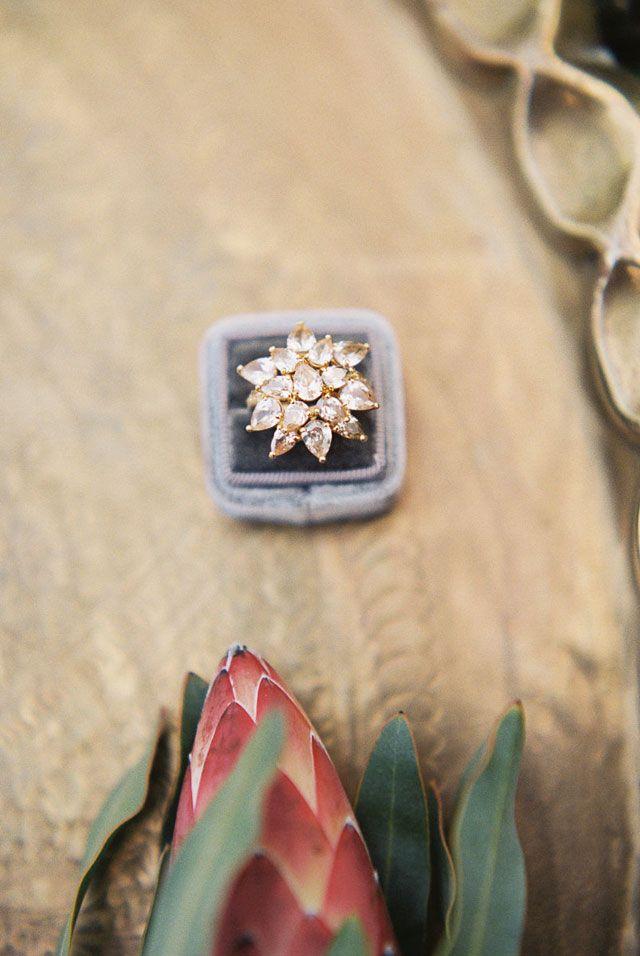 A modern yet organic wedding styled shoot set in a serene, lush green corner of ...