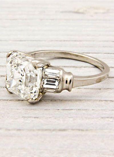 Ascher cut diamond ring