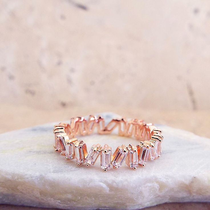 CZ Unique Baguette Eternity Band Wedding Anniversary Ring Rose gold plated CZ di...