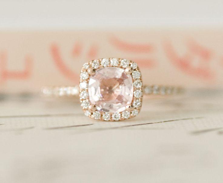 Certified Peach Pink Cushion Sapphire Diamond Halo Engagement Ring