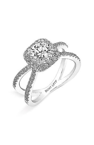 Crisscross semi -mount engagement ring