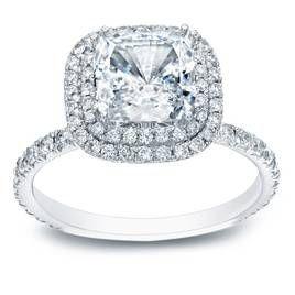 Cushion cut diamond halo engagement ring. #ad - #ring, #engagement