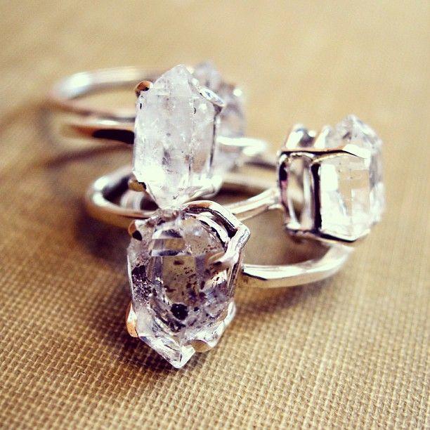 Erica Weiner Herkimer Diamond ring stack.