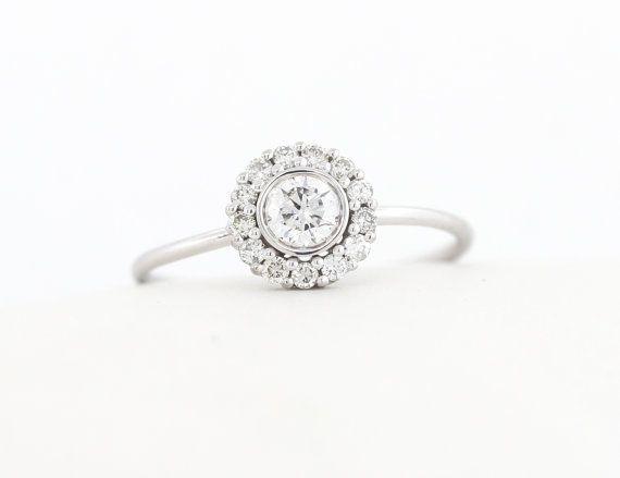 Halo Set Ring, Round Brilliant Cut Diamond Halo Engagement Ring, White/Rose/Yell...