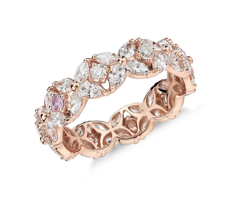 Monique Lhuillier Petal Garland Diamond Eternity Ring in 18k Rose Gold (2 ct. tw...