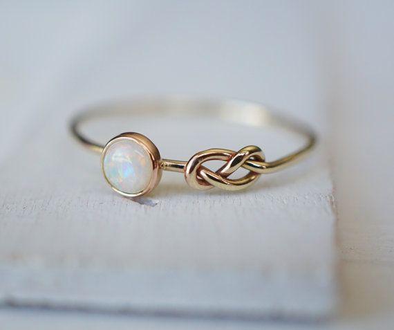 Opal Ring, Infinity Ring, Gold Ring, 14k Rose Gold Ring, Stacking Ring, Symbol R...