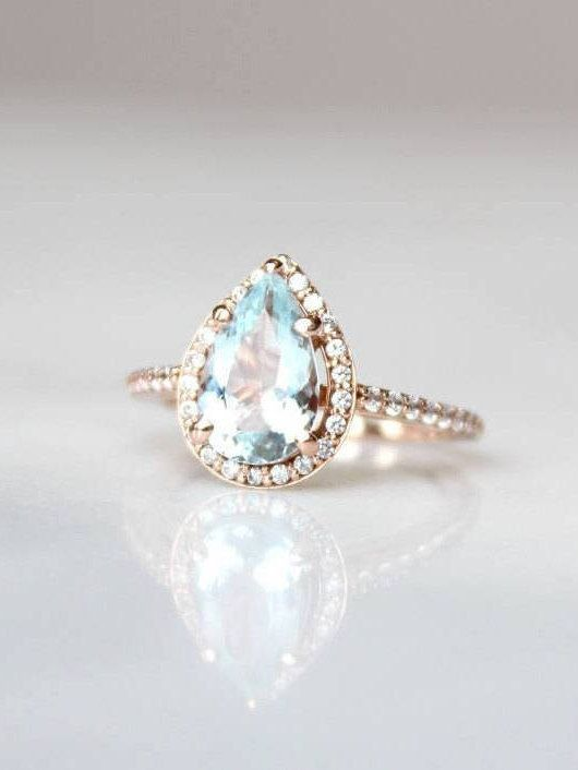 Pear Shaped Engagement Ring | Rose Gold Ring With Diamonds | Aquamarine Pear Cut...