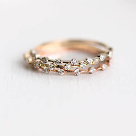 Petite Diamond Distance Band // White Diamonds Prong Set in Solid 14k Gold Band ...
