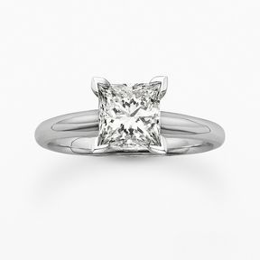 Princess-cut igl certified colorless diamond solitaire engagement ring in 18k wh...