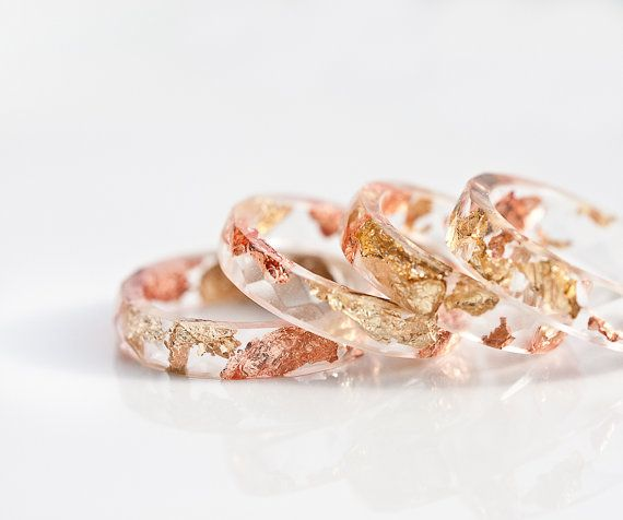 Resin stacking rings with gold and rose gold flecks