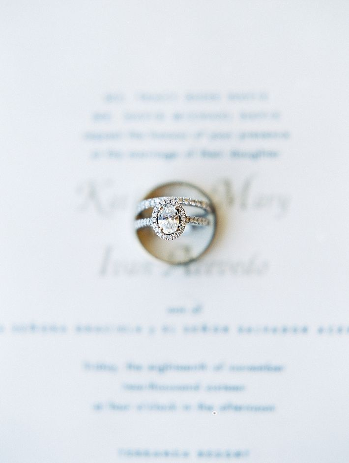 Rings on top of wedding invitiation // Mccune Photography