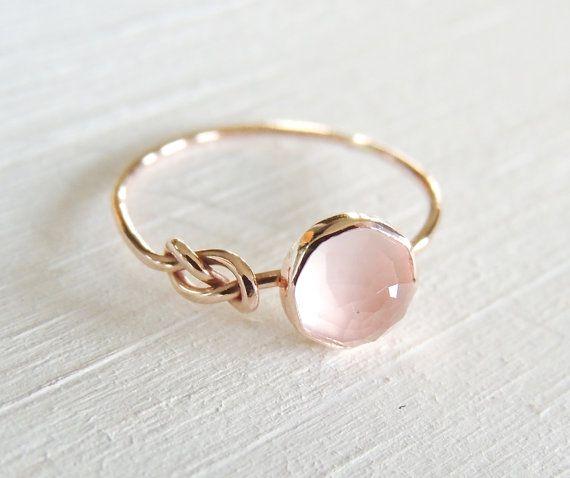 Rose Quartz Ring, Rose Gold Ring, Infinity Knot Ring, Symbol Ring, Friendship Go...