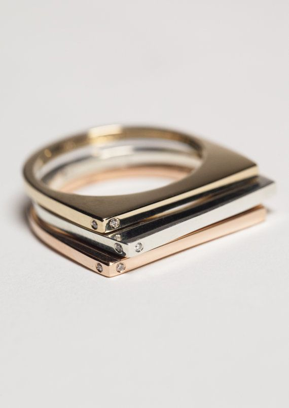 { Set of Three - 14K Rose Gold, 14K Yellow Gold & Sterling Silver - Stacking Rin...