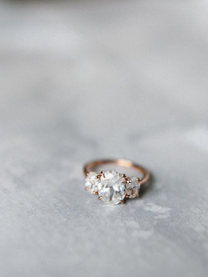 Stunning three stone diamond engagement ring: www.stylemepretty... | Photography...
