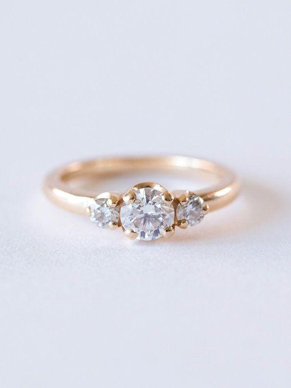 Three Stone Diamond Engagement Ring | 14k Gold Minimalist Trilogy Wedding Ring |...