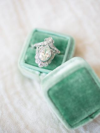 Vintage style pear diamond engagement ring