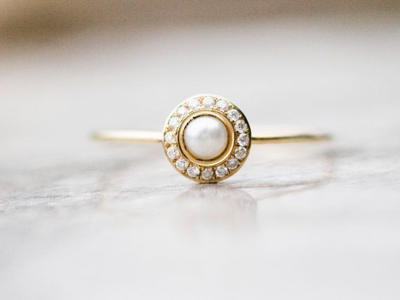 White pearl wedding ring with diamonds in 14k gold, white pearl engagement ring....