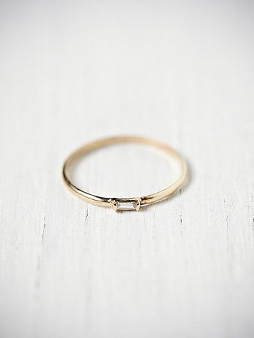 Catbird Diamond Baguette Ring, the perfect dainty wedding band.