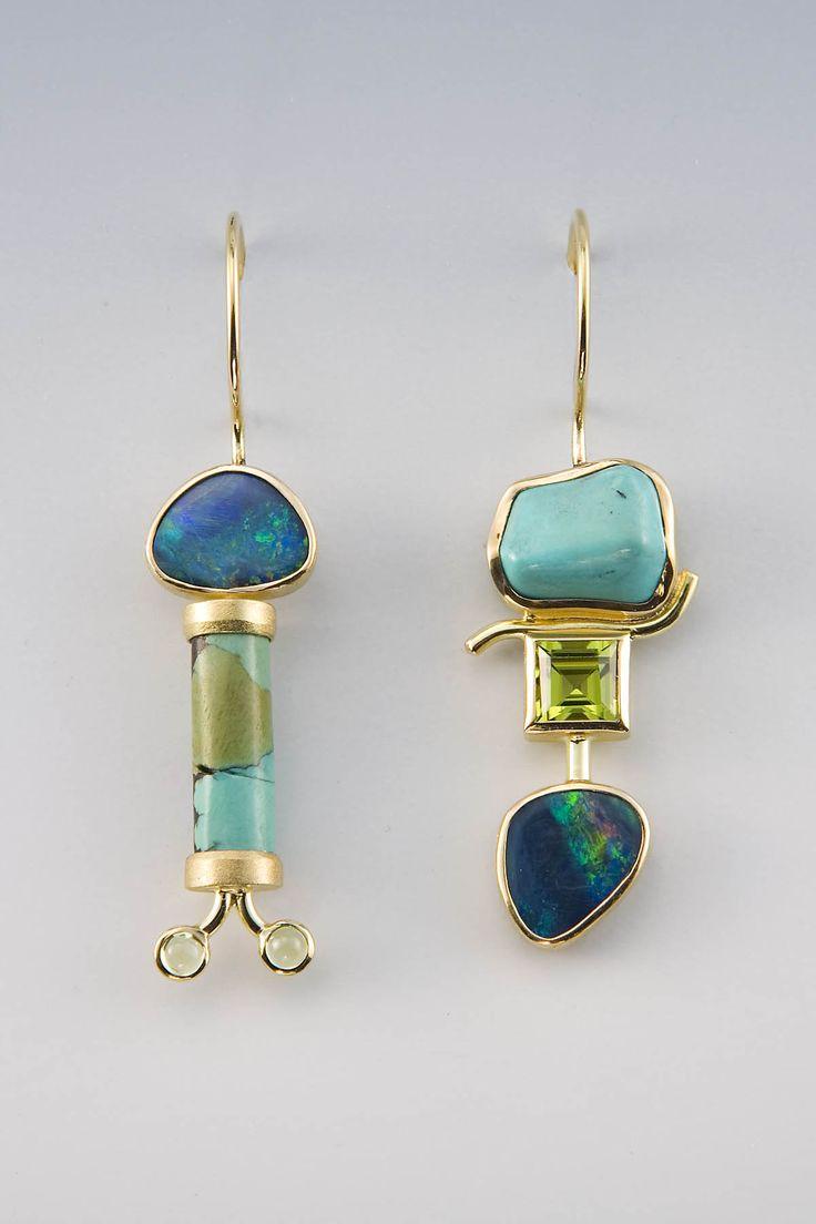 Earrings | Janis Kerman. 18kt yellow gold, boulder opal, turquoise, peridot | ...