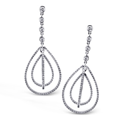 These striking 18K white earrings are comprised of .88ctw round white Diamonds. ...