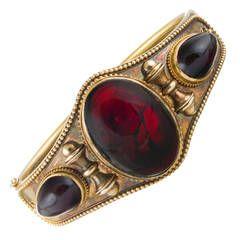 Victorian Cabochon Garnet Bangle Bracelet