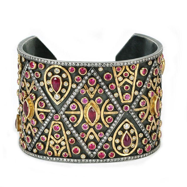 Ruby, diamond, silver and gold bracelet.