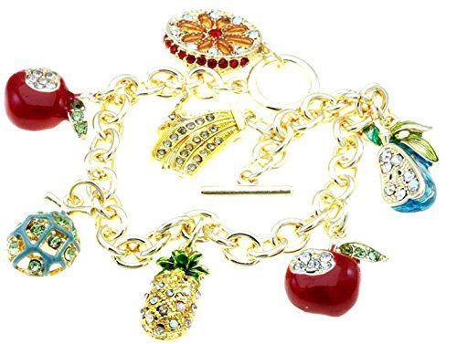Fruit Charm Bracelet C53 Orange Apples Lime Pineapple Ban... www.amazon.com/...