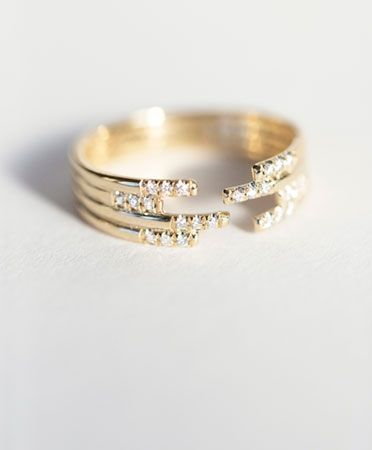 Stacked Diamond Cuff Ring