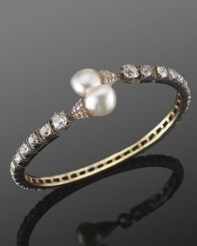 19th Century Pearl and Old Mine Diamond Flexible Crossover Bangle Bracelet. Fred...